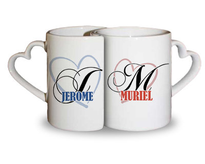 mugs duo de pr noms saint valentin cadeau personnalis et id e cadeau original. Black Bedroom Furniture Sets. Home Design Ideas