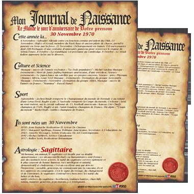 Journal de naissance personnalis cadeau personnalis et id e cadeau original Set de table a personnaliser